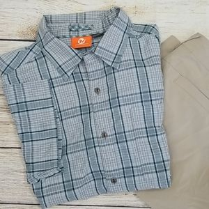 Merrell Grey Plaid Short Sleeve Button Down